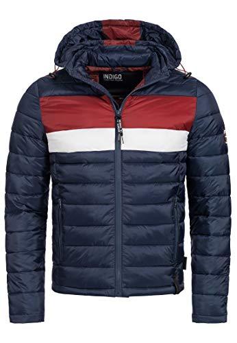 Indicode Herren Hampshire Steppjacke in Daunenjacken-Optik mit Abnehmbarer Kapuze | warme modische Winterjacke leichte gefütterte Übergangsjacke Jacke für Männer Navy XL