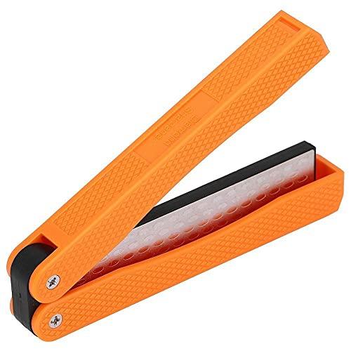 Toasses Double Sided Knife Sharpener Portable Folding Portable Anti‑Slip Diamond Sharpener(Orange)