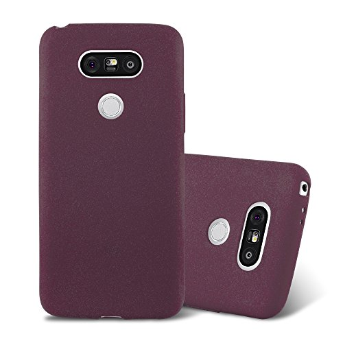 Cadorabo Hülle für LG G5 - Hülle in Frost BORDAUX LILA – Handyhülle aus TPU Silikon im matten Frosted Design - Silikonhülle Schutzhülle Ultra Slim Soft Back Cover Hülle Bumper
