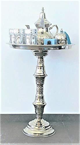 Mystery Souk Set da tè Marocchino Completo su Un Tavolo d'Argento Marocchino + Una teiera marocchina, 6 Bicchieri marocchini, Un Barattolo di Zucchero o BonBon d'Argento e Un portafaro Marocchino