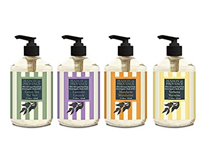 OLIVIA CARE O Line Liquid Hand Soap for Restroom, Bathroom, Kitchen, Workplace! -Aromatic, Germ-Fighting, Organic Olive oil cleanses & Moisturizes without drying! (1 of Each Flavor (4 total))