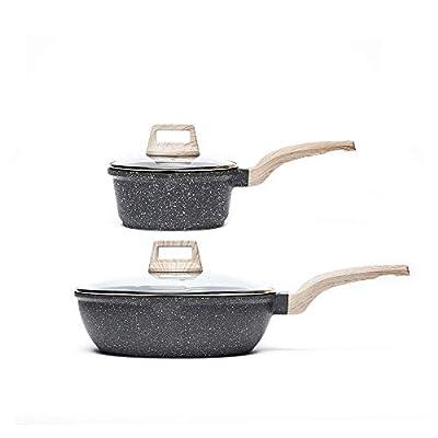 Carote 6Pcs Nonstick Cookware Set, 4.5-QT Nonstick Jumbo Cooker with Lid+2-QT Nonstick Saucepan with Lid+Turner+Spoon