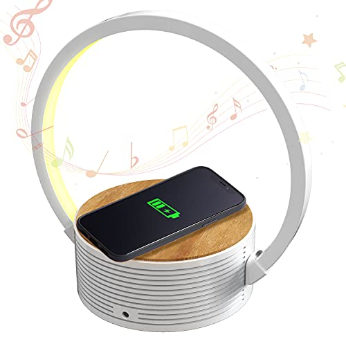 Led Desk Lamp, Blue Tooth Speaker with Wireless Charging Led Lights for Bedroom Bluetooth Fast Charging 10W Touch Control Table Lamps Book Light for Reading in Bedside Table for Bedroom Living Room