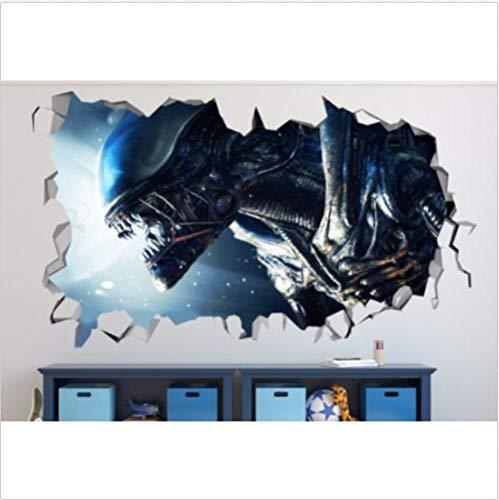 GTRB Pegatinas de pared Alien smashed 3D wall decal child sticker art deco vinyl mural poster