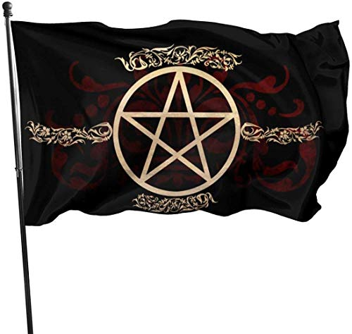 Saisonale und Holiday Yard Flag Banner Samhain Wiccan Pentagram Star Pentagram Pentacle Themed Welcome Party Outdoor Outside Decorations Ornament Picks Home House Garden Yard Decor 3 X 5 Ft Small Flag
