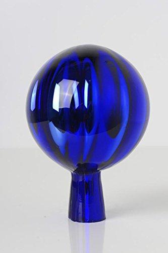 Rosenkugel aus Glas für den Garten – perfekte handgemachte Garten-Dekoration für Ihr Blumenbeetin vielen Farben, Formen und Größen, Hoche 12cm und Durchschnittlich 9cm, Blau
