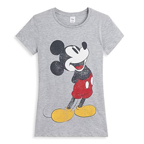 Disney Camisetas Mujer Manga Corta, Ropa Mujer Verano Algodon Suave, Camiseta Mujer Gris con Estampado Mickey Mouse, Regalos para Mujer Chica Adolescente Talla 36-50 (44)