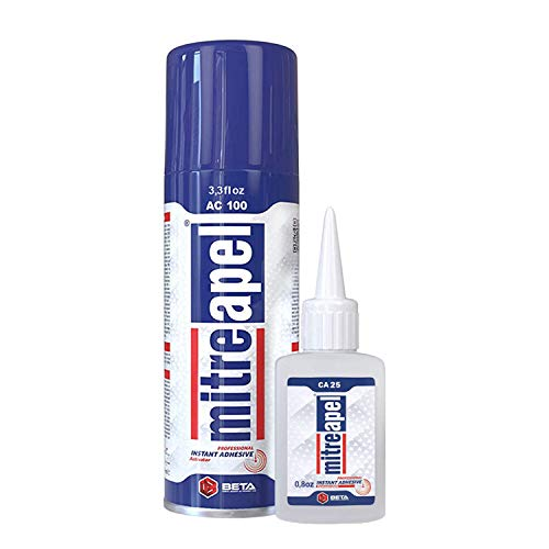 MITREAPEL Super CA Glue (0.90 oz.) with Spray Adhesive Activator (3.30 fl oz.) - Crazy Craft Glue for Wood, Plastic, Metal, Leather, Ceramic - Cyanoacrylate Glue for Crafting and Building (1 Pack)