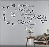 tjapalo s-tku5 Wanduhr Wandtattoo Uhr Wohnzimmer Wandsticker Spruch - Nimm dir Zeit für die Dinge die dich Glücklich machen mit Uhrwerk (Metall)