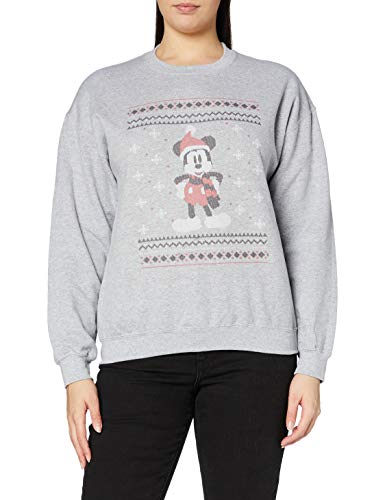 Brands In Limited Mouse Christmas Mickey in a Scarf Felpa, Grigio Marl, L Donna