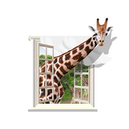 Qxbecky 3D Giraffe Wandaufkleber Pvc Wasserdicht Abnehmbar Abnehmbar Selbstklebend Wohnzimmer Schlafzimmer Hintergrundbild 75 * 80Cm