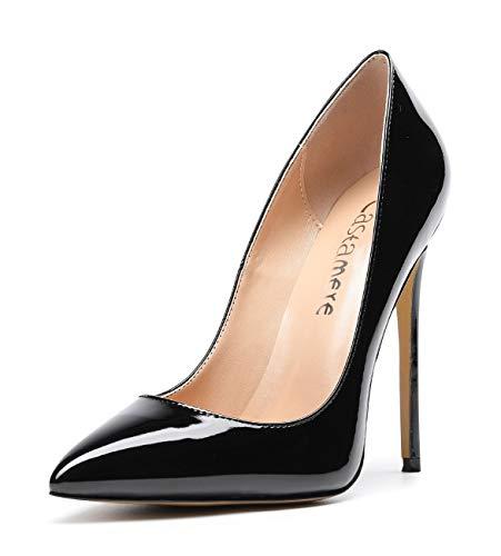 CASTAMERE Damen High Heels Spitzen Zehen Stilettos Slip on Pumps 12CM Schwarz Lackleder Schuhe EU 44