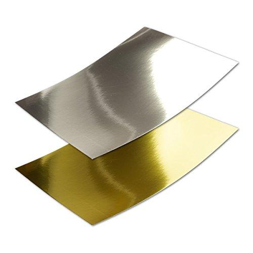 Metallic Spiegel Papier - 20er-Set - Gold - Silber - GEMISCHTES Set - Rückseite Weiß - DIN A4 21,0 x 29,5 cm - ideal zum Selbstgestalten & Kreieren - Gustav NEUSER