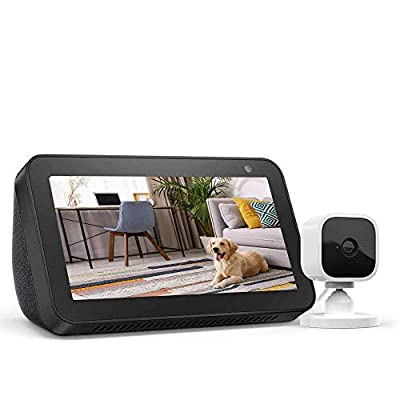Echo Show 5 Charcoal with Blink Mini Indoor Smart Security Camera, 1080 HD with Motion Detection from
