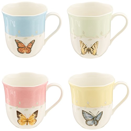 Lenox Butterfly Meadow Mug Set of 4 White Dinnerware -