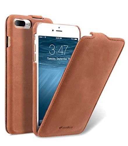 Edle Tasche für Apple iPhone 8 Plus & 7 Plus (5.5 Zoll) / Hülle Außenseite aus Echt-Leder / Schutz-Hülle / Flip-Hülle / Etui im Vintage Erscheinungsbild / ultra-slim Cover / Braun
