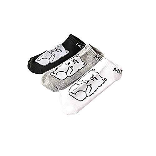 CHTINGDAMAI Lustige Socken, Frauen Mädchen Mittelfinger Katze Leckt Katze Cartoon Baumwolle Kurze Socken Männer Und Frauen Paare Parodie Socken Bootssocken, (3Pcs)