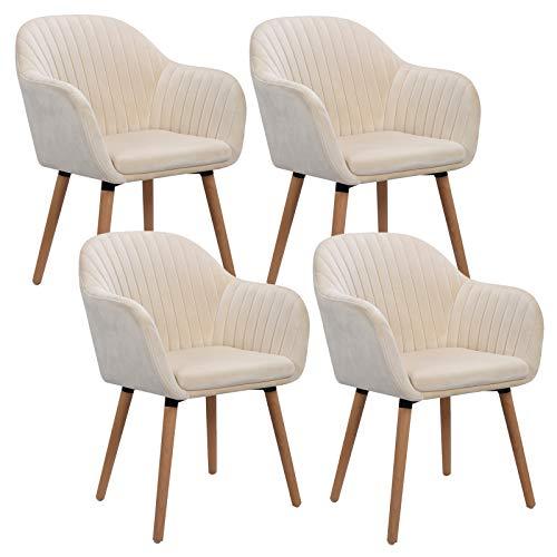 WOLTU 4er Set Esszimmerstühle Küchenstuhl Wohnzimmerstuhl Polsterstuhl Design Stuhl mit Armlehne Samt Massivholz Cremeweiß BH95cm-4