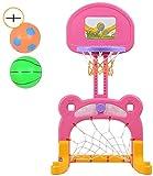 Aro de baloncesto ajustable en altura 100-125cm niño dos en uno de fútbol y baloncesto Stand, disparador de juguete al aire libre de interior for 3 años en adelante bebé del niño Deportes Yjiangluoche