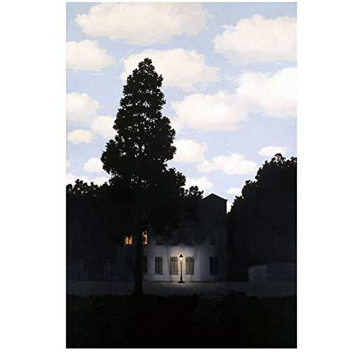 DNJKSA Rene Magritte Reich des Lichts Kunstdruck Leinwand HdKunstplakatKunstwerkRaumbildWohnzimmer BilderDekoratives Bild -50x75cm Kein Rahmen