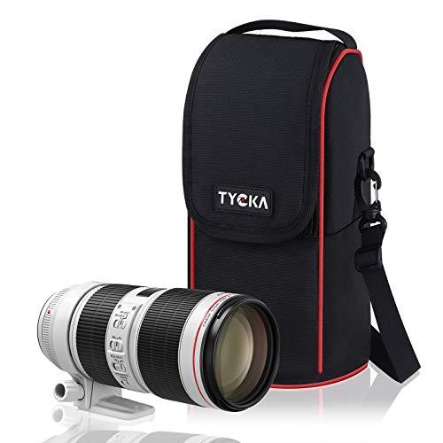 Estuche para Teleobjetivo para Lentes de Cámara de Nylon Impermeable y a Prueba de Golpes Estuche con Zoom y Correa de Hombro Ajustable para Lentes de Cámara Canon Nikon Sony SLR/DSLR en Color Negro