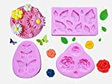 Pack of 4 Cake Decoration Molds, Leaves, Butterfly, Rose Flower and Daisy Flower Silicone Mold for...