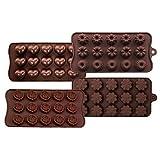 4 moldes de silicona para chocolate, chocolate, chocolate, chocolate, chocolate duro, apto para...