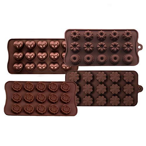 4 stampi per cioccolatini in silicone, per cioccolatini e caramelle, per realizzare cioccolatini duri, adatti per bambini, famiglie, coppie.