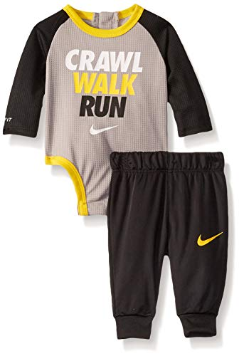 NIKE Children's Apparel Baby Girls Long Sleeve Bodysuit and Joggers 2-Piece Outfit Set, Black/Atmosphere Grey, 0/3M