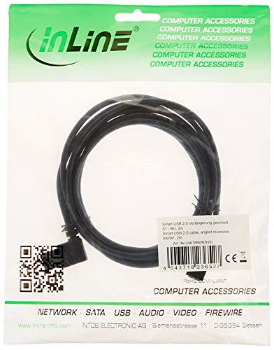 InLine 34618R Smart - Cavo di prolunga USB 2.0 ad angolo retto da maschio a femmina, tipo A, 2 m, colore: Nero