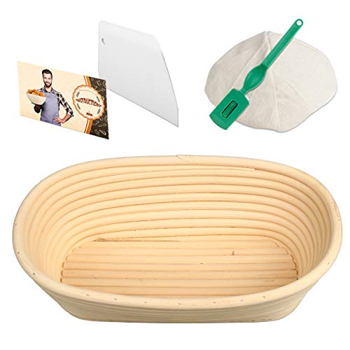 Woputne 10' Oval Banneton Bread Proofing Basket, Brotform Sourdough Proving Basket Natural Rattan Bowl for Bread and Dough Rising
