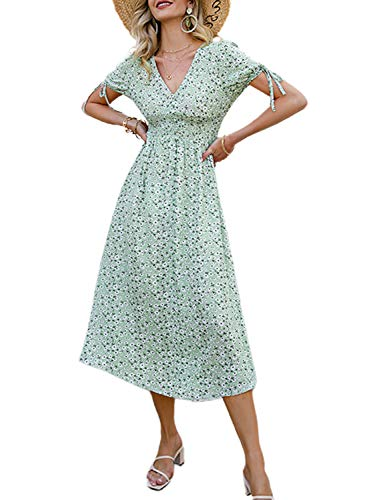 Amegoya Women's Summer Button Short Sleeve V Neck Floral Print Casual Bohemian Midi Dresses Green