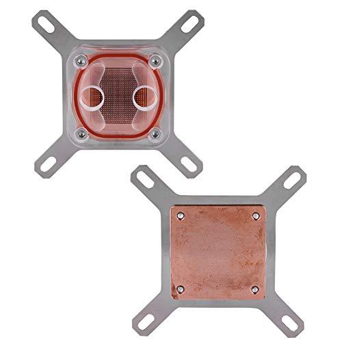 Bloque de refrigeración por Agua, Tubo de acrílico, Bloque de Agua con Base de Cobre CPU Universal(Transparencia)