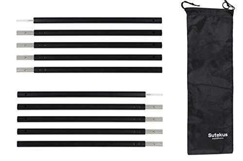 Sutekus Aluminum Rod Tent Poles Kit Rod Replacement Accessories 5 Section Multifunction Tent Poles for Camping Shelters Canopy Support 2 Poles (Black)