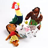 Anime Moana Plush Toys Tala Sina Tamatoa Heihei Chief Vaiana Moana Princess Stuffed Dolls Cartoon Animal Doll Toys 4pcs/set