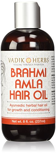 Brahmi Amla Hair Oil (8 oz) by Vadik Herbs   Ayurvedic herbal hair growth oil and hair conditioning oil   Great for hair loss, balding, thinning of hair, for beard growth, herbal scalp treatment