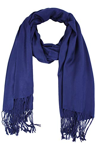 Paskmlna Large Solid Color Pashmina Shawl Wrap Scarf 80 X 27 (#5Navy Blue)