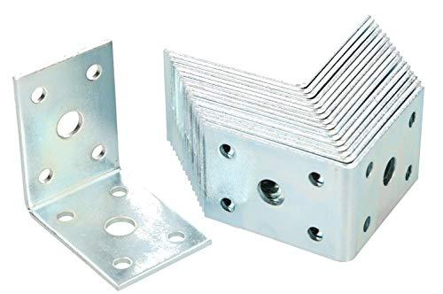 KOTARBAU Winkelverbinder 50 x 50 x 35 mm Stahl Bauwinkel Montagelöcher Möbelwinkel Verzinkt Schwerlast Holzverbinder Montagewinkel Stuhlwinkel (25)