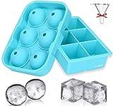TeaRoo 2 STK. Eiswürfelform, Silikon Kugel Eiswürfelschale mit Deckel und großen quadratischen Eiswürfelform, Gekühlte Getränke, Whisky und Cocktails, LFGB Zertifiziert und BPA Frei (Blau)