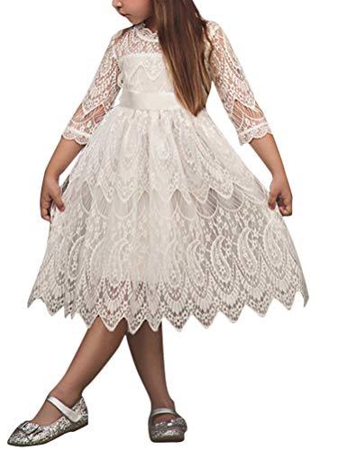 Minetom Herbst Winter Kleid 3/4-Arm Spitze Kleider Mädchen Elegant Polka Dots Faltenrock mit Gürtel Bowknot Geschenke für Kinder Baby C Weiß 130