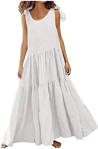 Shiyirishop Summer Dresses for Women, Women's Sleeveless Maxi Dress Loose Plain Casual Beach Flowy Long Pleated Dress
