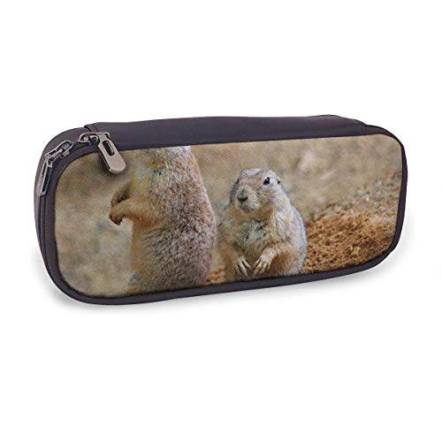 Pencil Case Pen Bag,Prairie Dogs Rodents Couple Sitting Animal,Large Capacity Pen Case Pencil Bag Stationery Pouch Pencil Holder Pouch with Big Compartments