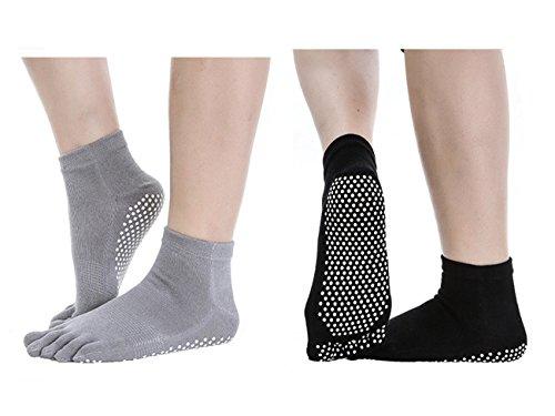SANIQUEEN.G 2 Pares Calcetines Antideslizantes para Yoga Pilates Ejercicios Deportivo (Negro+Gris)