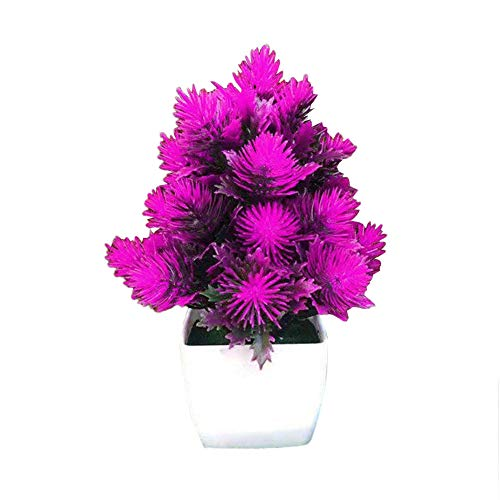 Garretlin - Flor artificial artificial artificial para decoración de escritorio, plástico, Morado, talla única