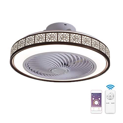 Ventilador De Techo Con Iluminación Luz,50CM 72W Regulable Lampara LED Techo con Control Remoto para Ajustable Velocidad del Viento,Ultra Silencioso Decoración de Interiores Plafón de Techo,Marrón