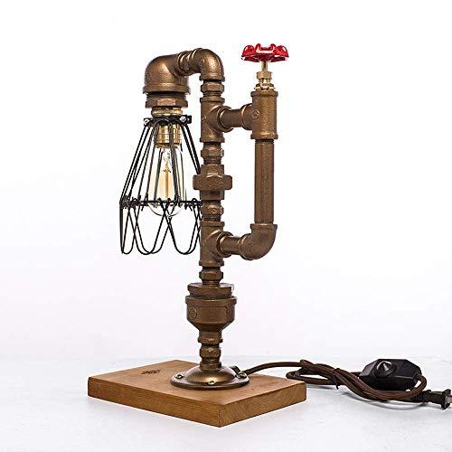 Wasserpfeifentischlampe American LOFT Steampunk Industrial Style Schmiedeeisen-Schreibtischlampe Kreativer Eisenkäfig-Metall-Schlafzimmer-Nachttischlampe Edison Dimmable Lighting Fixture XYJGWSTD