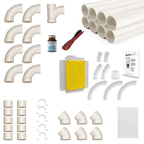 Zentralstaubsauger Einbau-Set für Retraflex inkl. Vakuumrohren und Installationsmaterial mit einer max. Schlauchlänge von 12.2 Meter