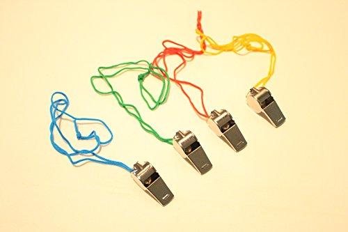 10 Trillerpfeifen aus Metall mit Kordel Pfeife Schiedsrichter Mitgebsel Kindergeburtstag