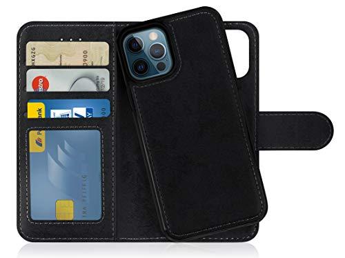 MyGadget Funda Flip Case con Tapa Tarjetera para Apple iPhone 12/12 Pro en Cuero PU - Carcasa Cerrada con 9 Bolsillos - Cubierta Magnética Separable - Negro