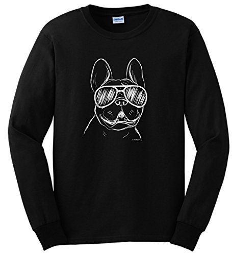 Dog Lover Gifts for Women Dog Gifts for Men Dog Gifts French Bulldog Sunglasses Dog Lover Gift Long Sleeve T-Shirt Small Black